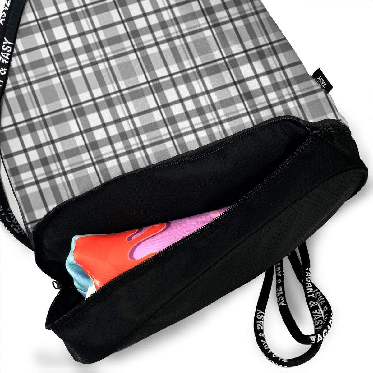 HUOPR5Q Gray Plaid Drawstring Backpack Sport Gym Sack Shoulder Bulk Bag Dance Bag for School Travel