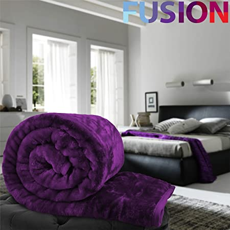 EVELYN LIVING KING - PURPLE LUXURY FAUX FUR MINK THROW SOFT WARM FLEECE  BLANKET DOUBLE KING SINGLE SOFA BED  Amazon.co.uk  Kitchen   Home 4841a6c4d
