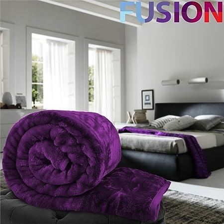 Luxury Purple Soft MINK FAUX FUR BLANKET Bed Sofa Throws Single Double King size