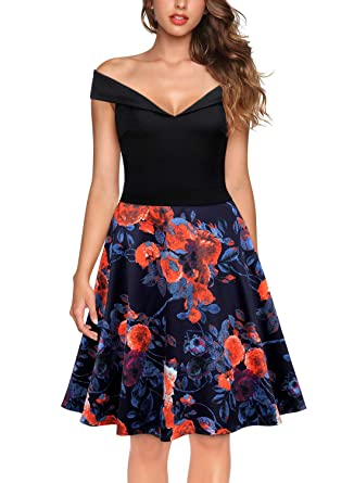 509a74f22f88 Knitee Women's Off The Shoulder V-Neck Vintage Cocktail Party Fit and Flare Floral  Dress at Amazon Women's Clothing store: