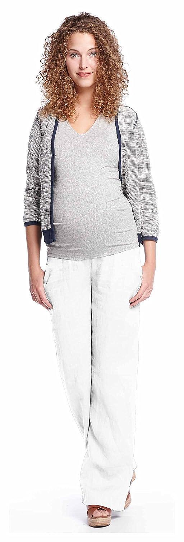 Queen Mum Damen Umstands-Hose Schwangerschafts-Hose Leinen-Hose Freizeithose Sommerhose Schwangerschaft locker leger