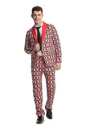 ed4e2f7a6848 Modisch Herren Party Anzug Weihnachten Party Suits Kostüme Weihnachtsanzug  Festliche Anzüge in Normalem Schnitt mit lustigen Mustern inkl Jackett ...