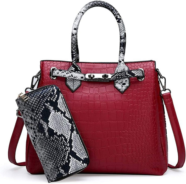 Womens bag luxury classic crocodile pattern handbag large capacity OL shoulder Messenger bag