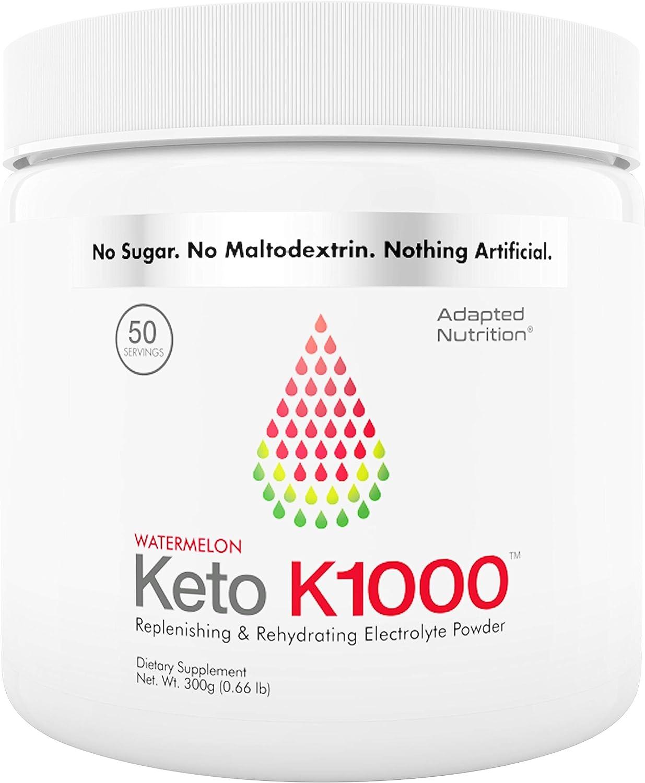 Keto K1000 Electrolyte Powder | Boost Energy & Beat Leg Cramps | No Maltodextrin or Sugar | Watermelon, Lighter Stevia Taste | 50 Servings