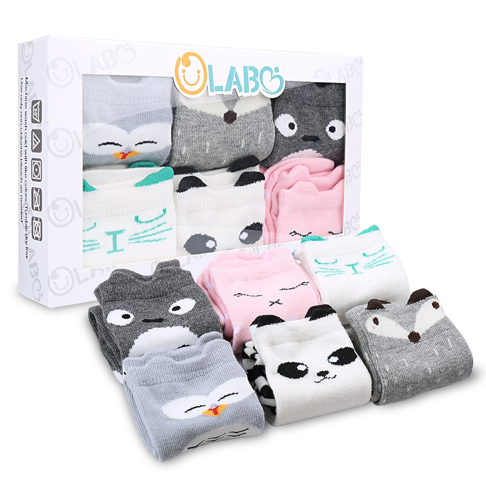 Baby Socks Newborn Socks Baby Knee High Socks Animal Theme Gift Unisex 6 Pack Set by OLABB Animals B M 1-3T