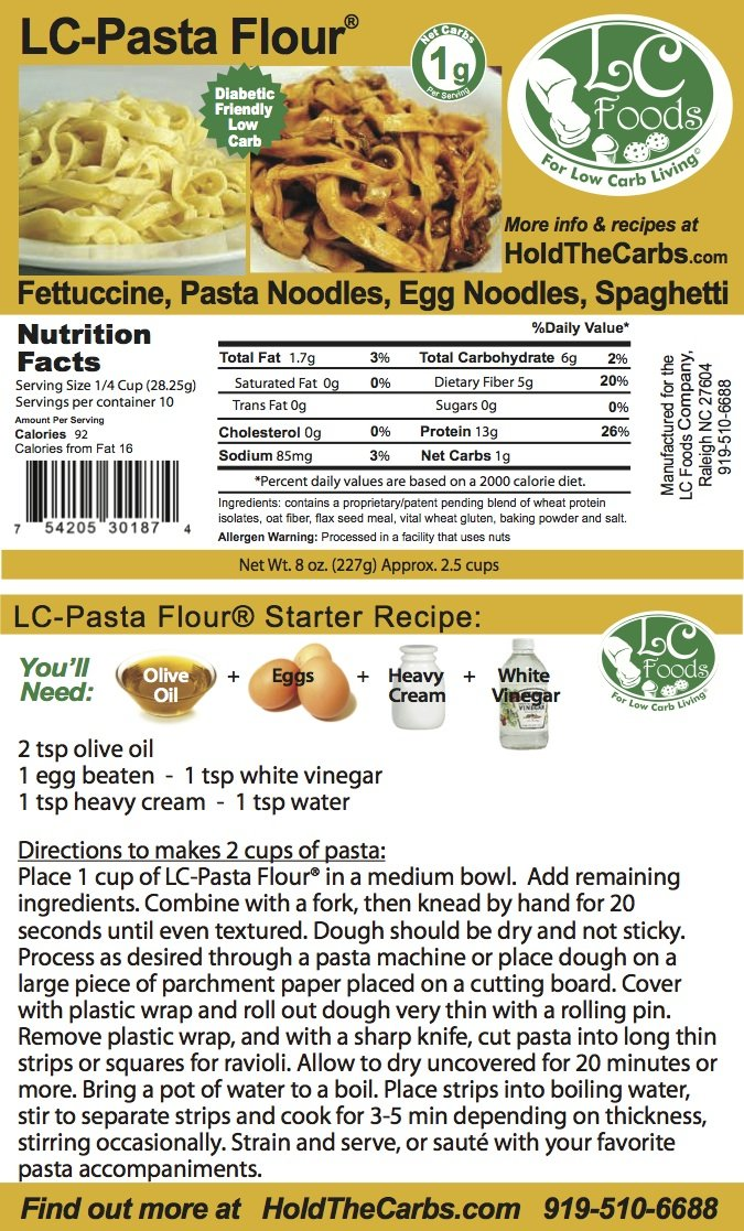 Low Carb Pasta Flour (2 LBS) - LC Foods - All Natural - No Sugar - Diabetic Friendly