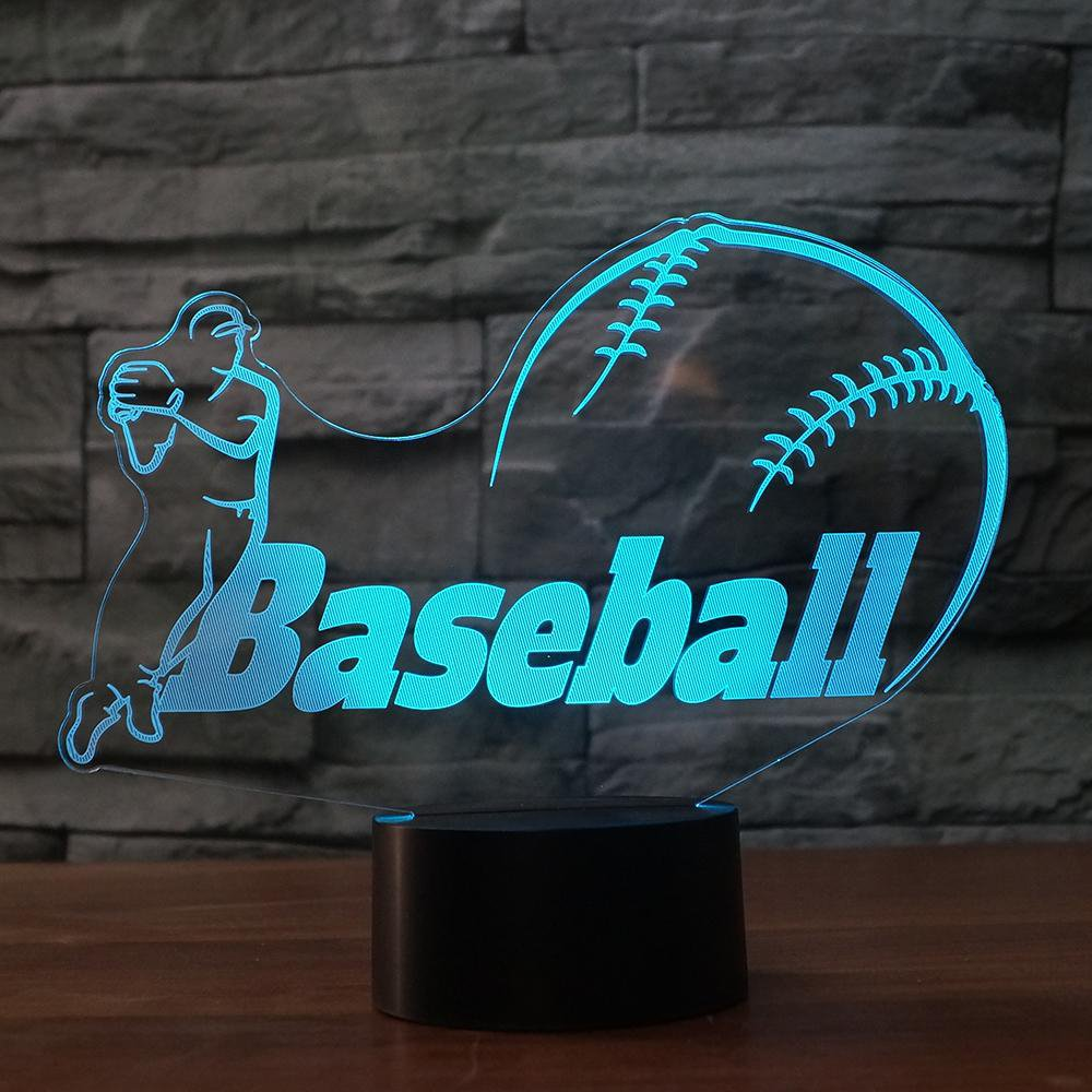 3D Baseball Modelling Night Light Touch Table Desk Optical Illusion Lamps 7 Color Changing Lights Home Decoration Xmas Birthday Gift