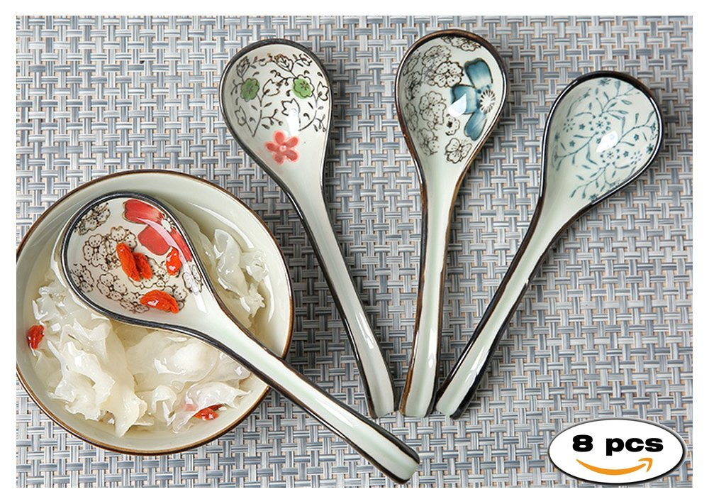 STAR-TOP Hand-made ceramics Long Handle Spoons,perfect for family use,Set of 8 (Color random) by STAR-TOP (Image #3)