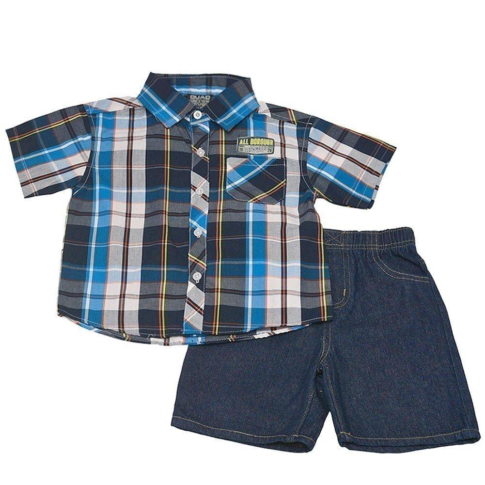 Little Boys Blue Black Plaid Short Sleeve Shirt 2 Pc Shorts Outfit 2T-7