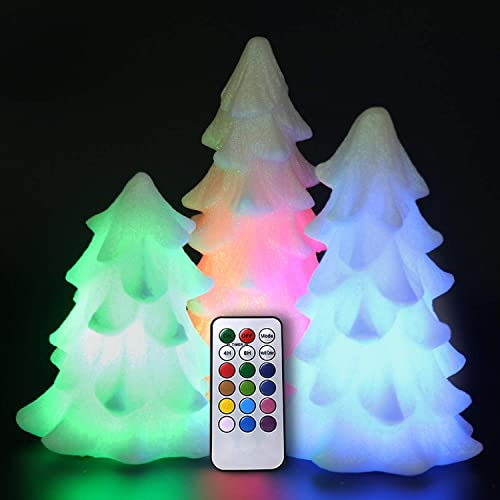 Eldnacele Tree Shaped Christmas Flameless Flilckering Candles Color Changing with 18-Key Remote and Timer Set of 3, Battery Opeated Glitterring LED Candles Seasonal Decoration Ivory