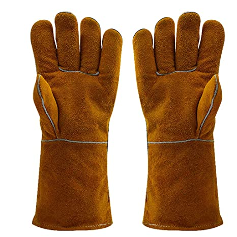 Guantes Ignífugos Guantes de Soldadura Marrón Amarillo Antideslizante Resistente al Desgaste Aislamiento Térmico Salpicaduras Soldadura Trabajo