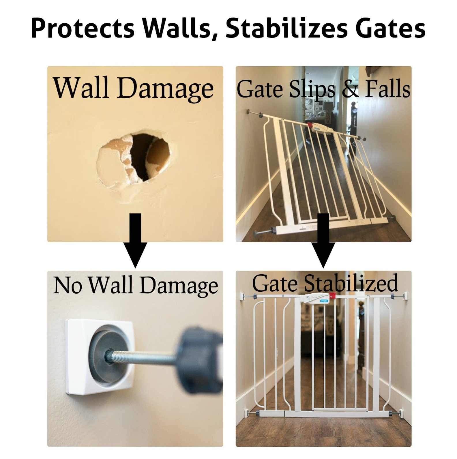 Wall Nanny Mini - Baby Gate Wall Protector (Made in USA) for Dog & Pet Gates - Small Low-Profile Saver - Perfect in Doorways - Cups Protect & Guard Walls from Kid Child Safety Pressure Gates - 4 Pack by Wall Nanny (Image #3)