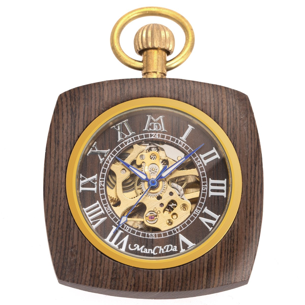 ManChDa Roman Copper Wooden Steampunk Mechanical Skeleton Pocket Watch With Chain Gift Box (5.Square Shape Roman Copper Black Wooden)