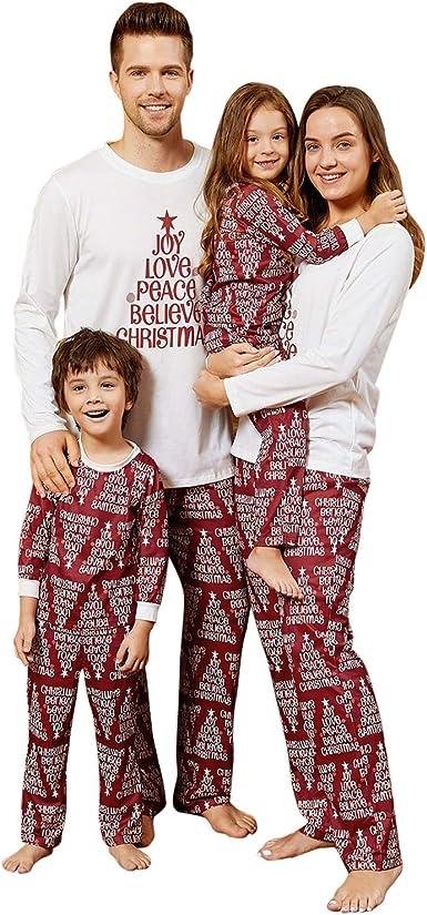 Yaffi Conjunto de pijama a juego para fiestas de Navidad, alegría, amor, paz, creer, Navidad, con letra impresa, dos piezas