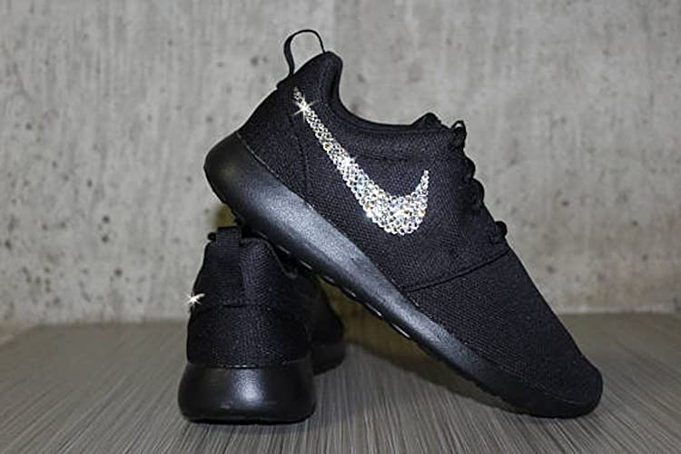 Black Nike Roshes women, Swarovski Nike shoes for women, Bling Nike roshes, Nike Roshes for women, Nike roshes women's Black