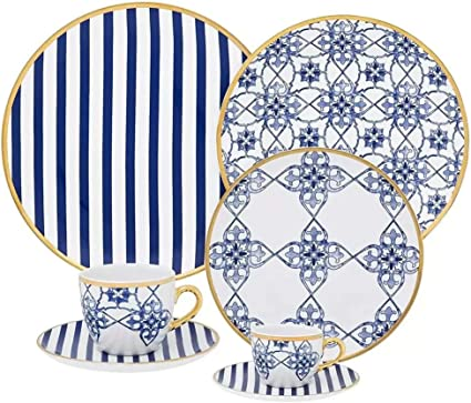 Aparelho de Jantar Redondo 42 Peças Em Porcelana Serve Até 6 Pessoas Incluso Pires e Xícaras Para Chá e Café Azulejo Português Coup Lusitana-Oxford