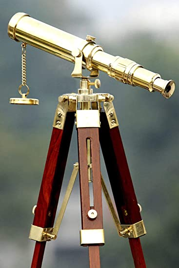 Antique Vintage Style Brass Telescope w Wooden Tripod Home Office Nautical Decor