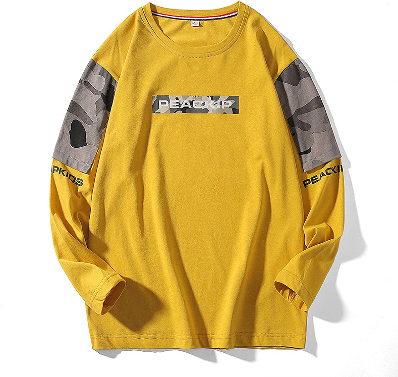 HOSD Camuflaje Personalizada Manga de Ropa de de Larga Camiseta Camiseta para Hombres algodón de Suéter Larga Manga