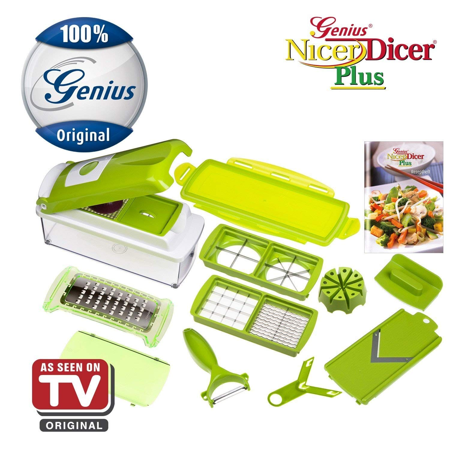 Nicer dicer plus by genius 13 pieces fruit vegetable slicer food chopper pro mandoline kitchen cutter dicer stainless steel as seen on tv