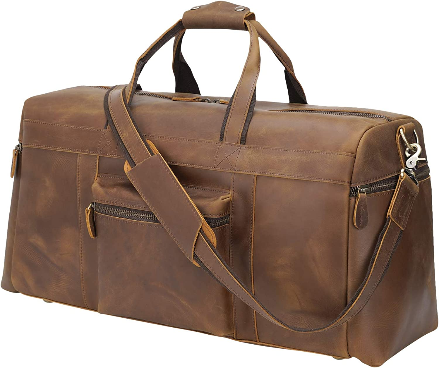 Texbo Men's Thick Full Grain Cowhide Leather Vintage Big Travel Duffle Luggage Bag 23