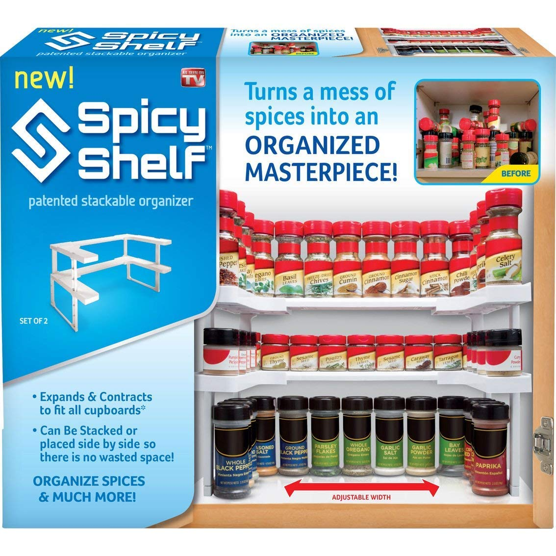 Spicy Shelf, Spice Rack, Stackable organizer, Kitchen Spice Rack, Bathroom organizer, Cosmetics Storage organizer. Holds Up to 64 Spices Storage Adjustable, Easy to See All Spices, White