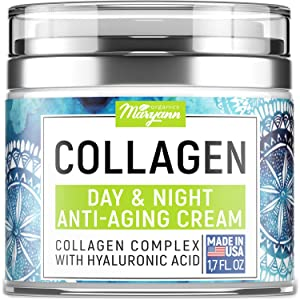 MARYANN Organics Collagen Cream - Anti Aging Face Moisturizer - Day & Night - Made in USA - Natural Formula with Hyaluronic Acid & Vitamin C - Firming Cream to Smooth Wrinkles & Fine Lines - 1.7OZ