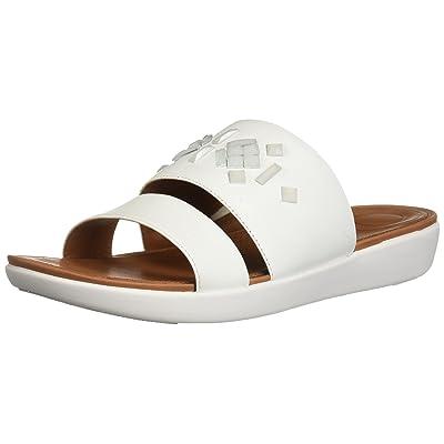 FitFlop Women's Delta Leather Slide Sandals-Crystal | Slides