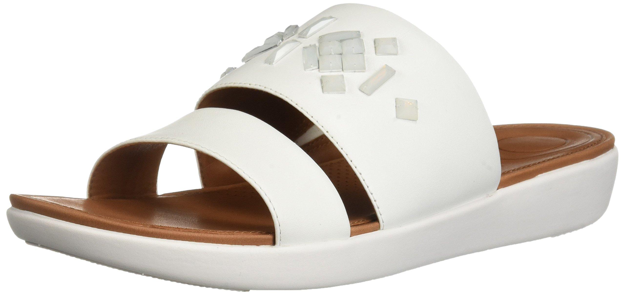 FitFlop Women's Delta Leather Crystal Slide Sandal, Urban White, 6 M US