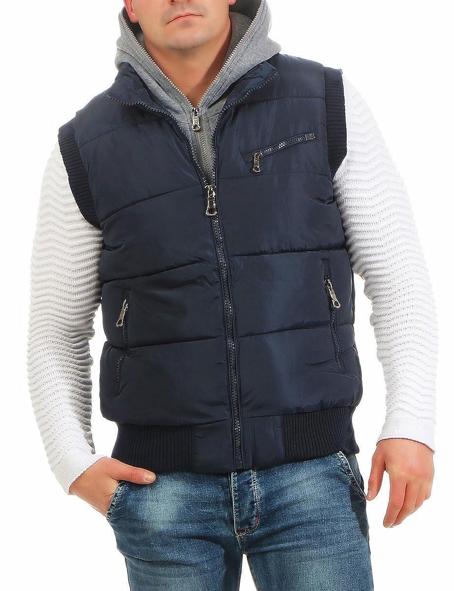 29e6dde1a9474f Fashion4Young 4448 Herren Weste Steppweste Outdoor Bodywarmer  Übergangsjacke Streetwear: Amazon.de: Bekleidung