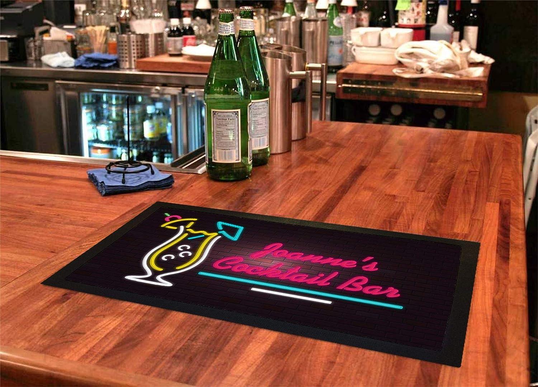 Bang Tidy Clothing Personalised Bar Runners Neon Cocktail Home or Pub Bar Mats Mens Gift Idea