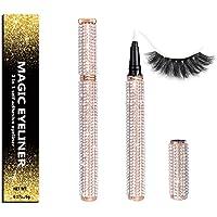 Self-adhesive Eyeliner Updated 2020 Version,2 in 1 Eye Liner Pen Diamond Bling Glitter Liquid Eyeliner No Glue, Non…