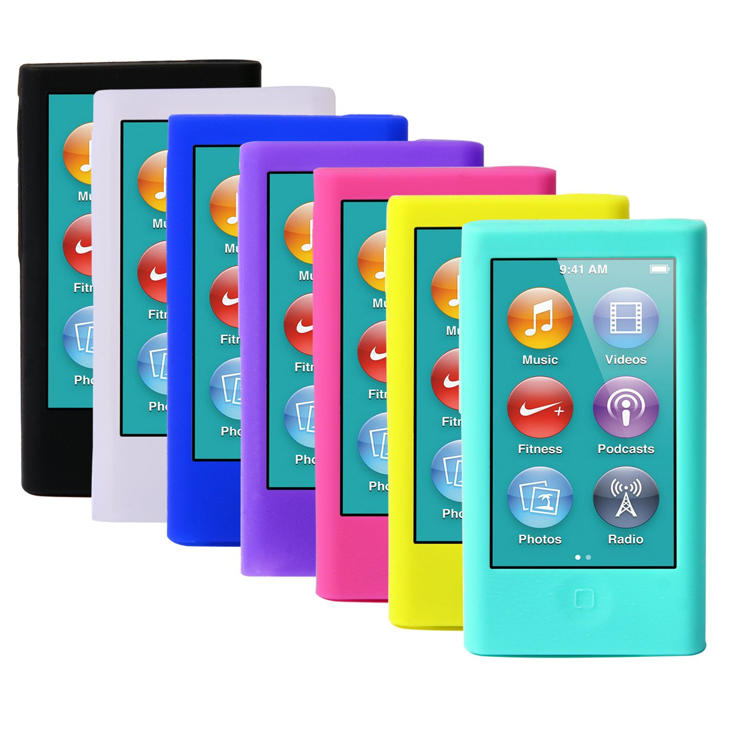 ColorYourLife 7pcs Soft Silicone Gel Skins Cases Covers for New iPod Nano 8th 7th Generation with Screen Protector in Retail Packaging