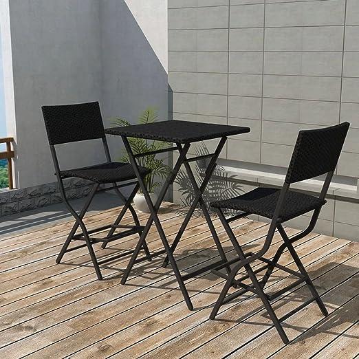 Luckyfu este Juego de Mesa y sillas de jardín 3 Piezas Polirratán ...