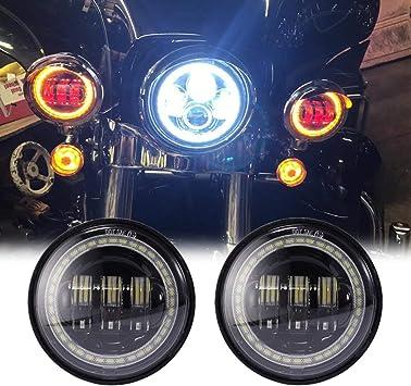 1 X 45 W Led Scheinwerfer Rund 17 8 Cm 7 Zoll Abblendlicht 2 X 30 W Nebelscheinwerfer Mit Angel Eyes Für Motorräder Harley Davidson 3 Stück Auto