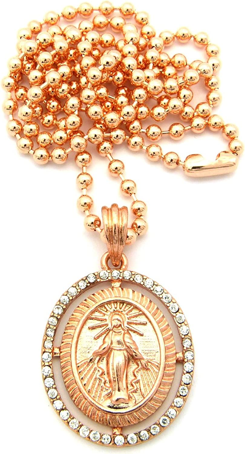 NYFASHION101 Jesus Halo Pave Oval Micro Pendant /& 27 Ball Chain Necklace Rose Gold-Tone MMP21RG