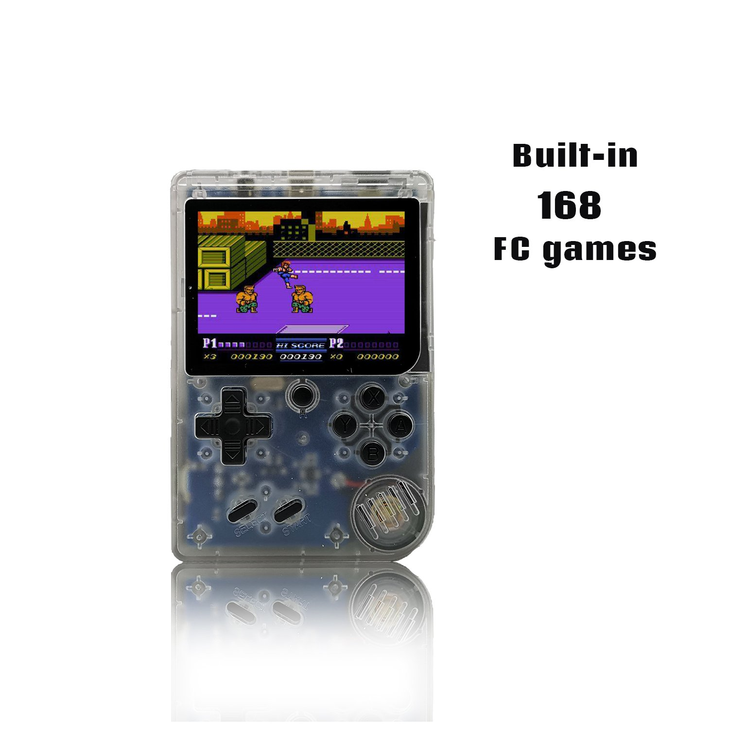 Handheld Game Console, 3 Inch 168 Classic Games Retro FC Game Console, Birthday Parent for Children - Transparent White