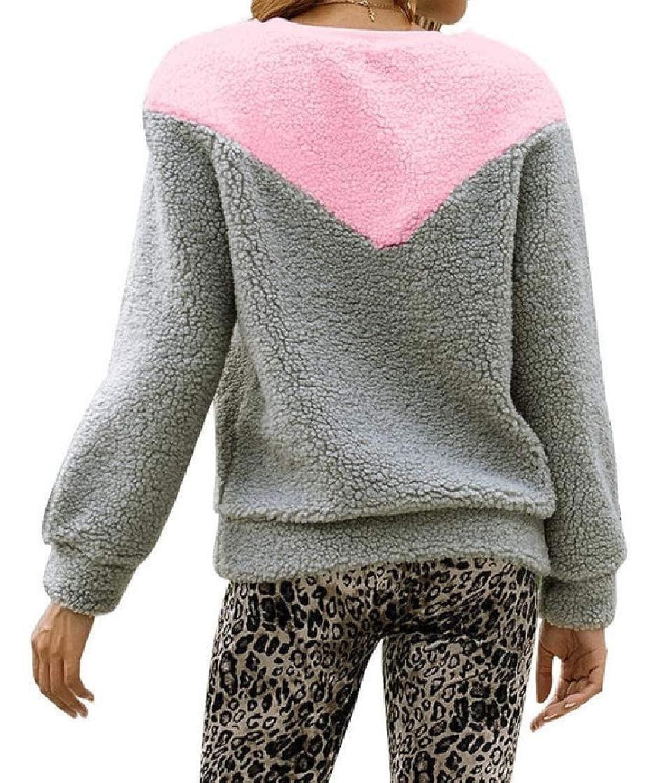 YUNY Womens Long Sleeve Velvet Warm Stitch Hit Color Baggy Sweatshirts Pattern1 XS