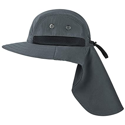 6af1d43a98ea7 Tirrinia Outdoor Sun Protection Fishing Cap with Neck Flap Wide Brim Hat  for Safari Hiking Hunting