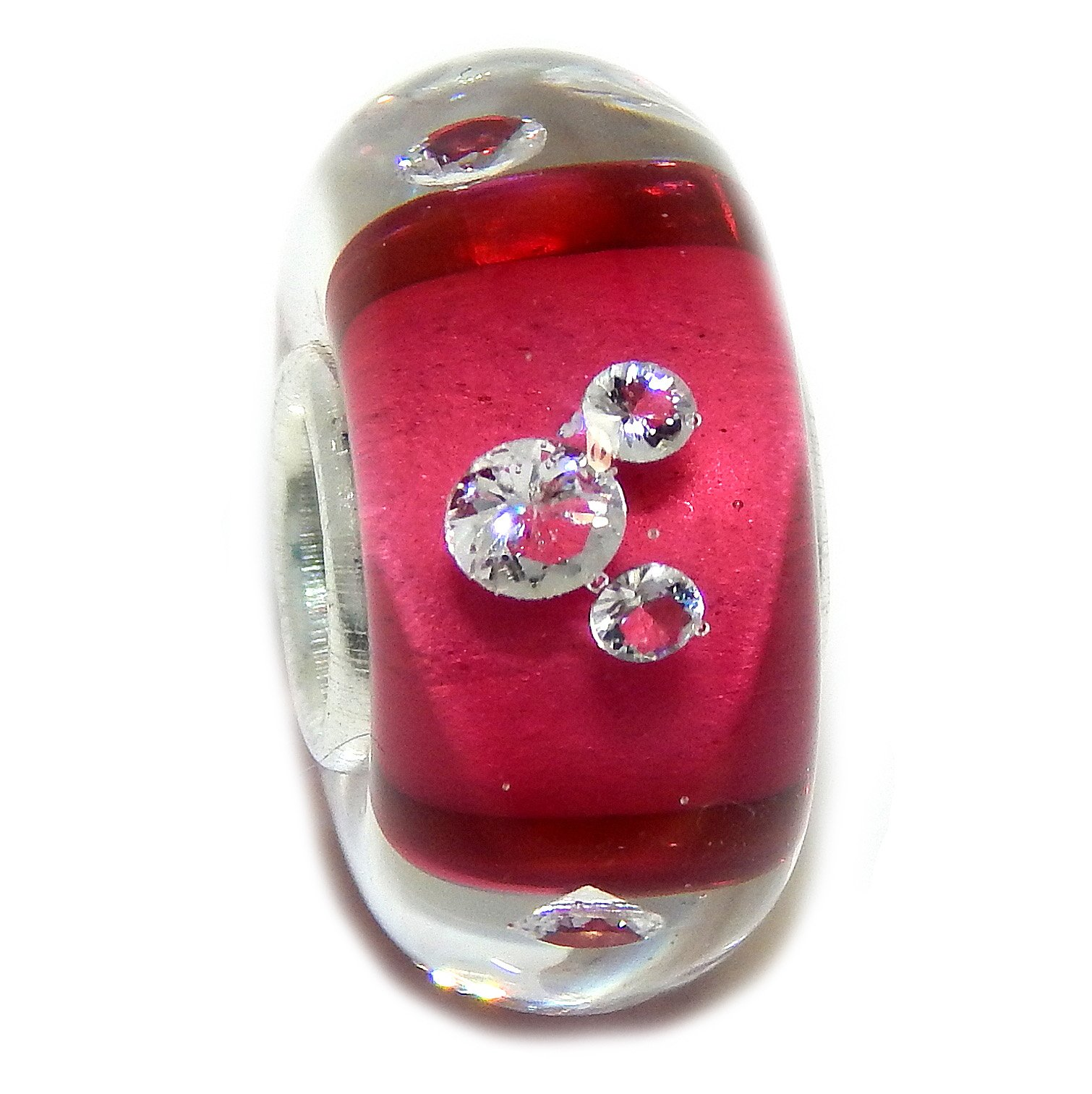 Solid 925 Sterling Silver ''Clear with Hot Pink Core and Mouse Ears'' Glass Charm Bead