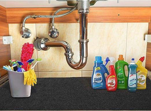Amazon Com Pretigo Under The Sink Mat Kitchen Cabinet Liner Mat Non Adhesive Absorbent Waterproof Shelf Liner For Kitchen Cabinets 24 X36