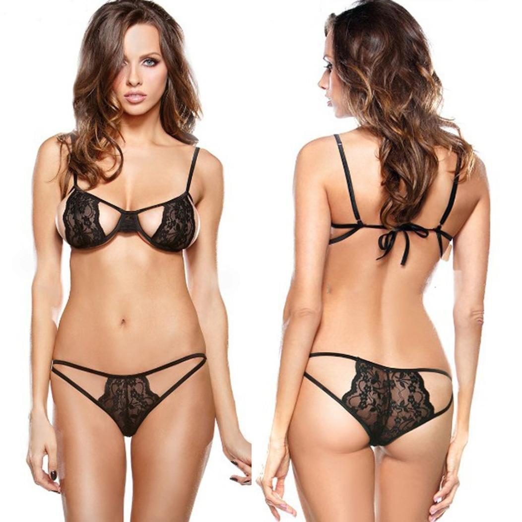 6146dca596403 Women Sexy Lace Spice Bra Lingerie G-String Set friendG perspective  Uniforms Wild Temptation See Through Hot Underwear Nightwear Push Up Corset  Bra + ...