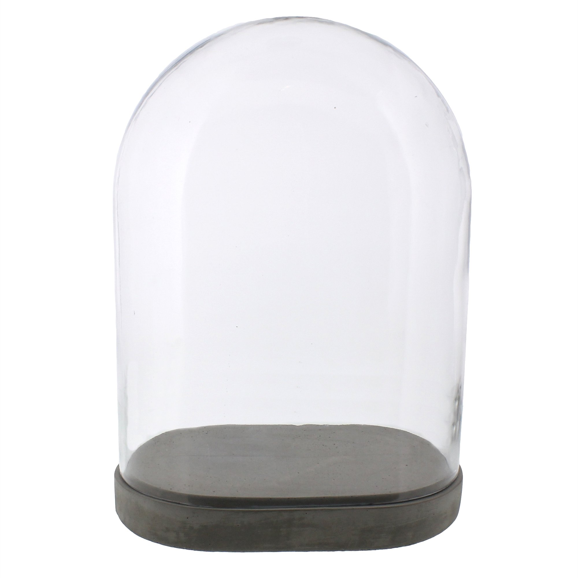 Large Risa Cement Base with Oval Glass Cloche Dome - Clear