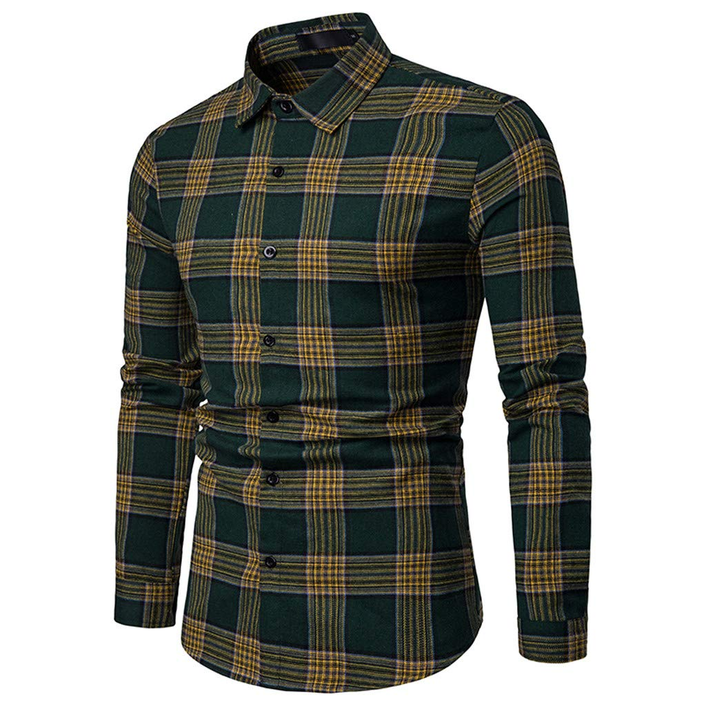 NUWFOR Men's Long Sleeve Lattice Plaid Painting Large Size Casual Top Blouse Shirts(Green,M US/M AS Bust:37.7'')