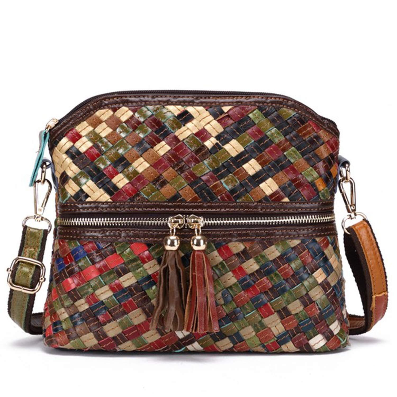 Handmade Patchwork Crossbody Bags Feminina Bolsas Genuine Leather Weaved Messenger Bag-in Top