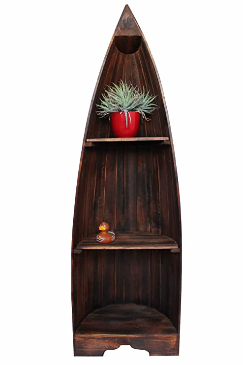 Exotisches Set Bootsregal Regal Boot Bootsform Holz dunkelbraun 145cm und 95cm