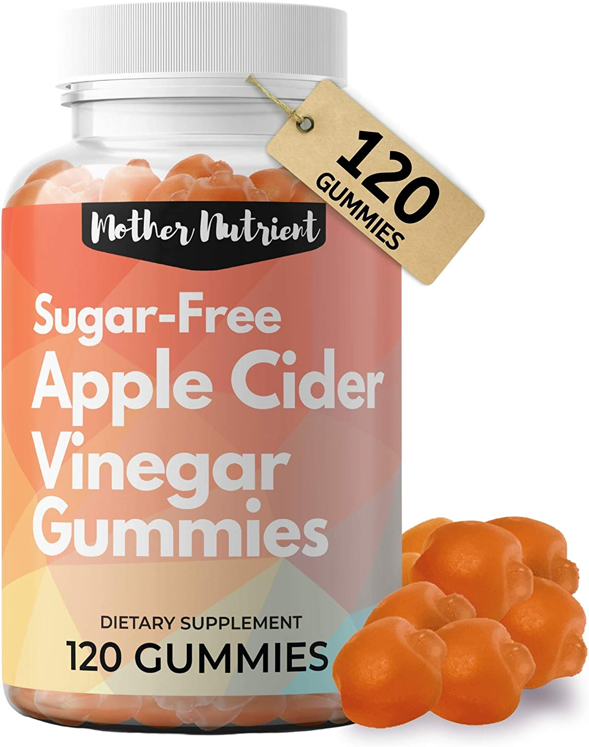 Mother Nutrient - Sugar Free Apple Cider Vinegar Gummies - 750mg - with The Mother, Gluten Free, Immune Support, Supports Increased Energy, Aids in Digestion, Helps Relieve Bloating, 120 ACV Gummies