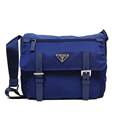 209b677f6367 Prada Royal Blue Tessuto Pattina Nylon Leather Cross Body Messenger Bag  BT0953: Amazon.co.uk: Shoes & Bags