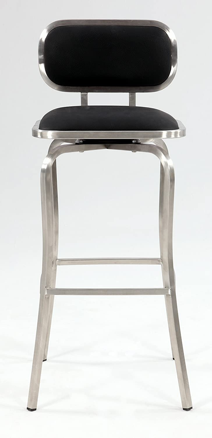 Amazon.com Chintaly Imports Modern Swivel Bar Stool Brushed Stainless Steel/Black PU Kitchen \u0026 Dining : modern counter height stools - islam-shia.org