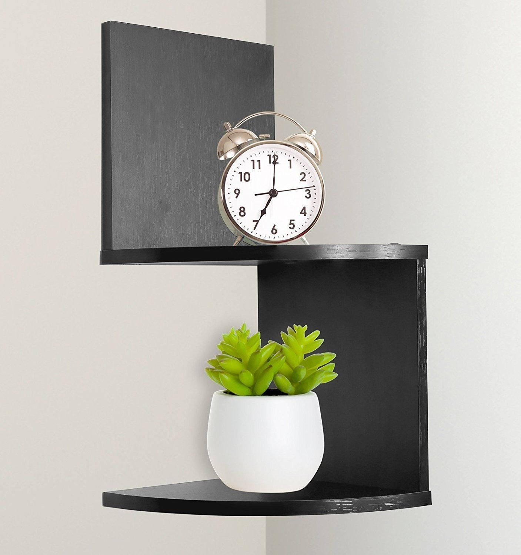 New Greenco Modern Design 2 Tier Corner Floating Shelves, Espresso.