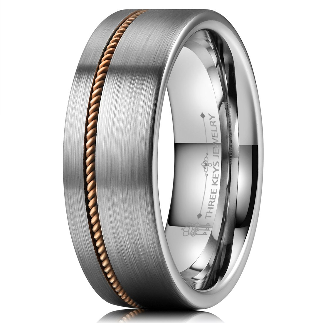 Three Keys Jewelry 8mm Guitar String Inlay Tungsten Wedding Ring Brushed Flat Mens Wedding Band Engagement Ring Music Jewelry Size 12.5